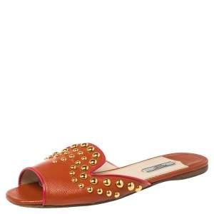 Prada Orange Leather Studded Slide Flats Size 40