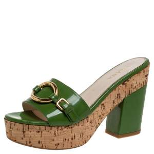 Prada Green Patent Leather Buckle Detail Cork Platform Slide Sandals Size 39