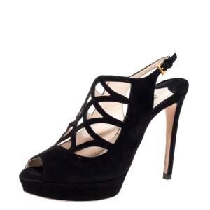 Prada Black Suede Lasercut Platform Sandals Size 36.5