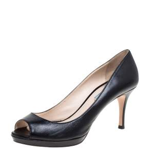 Prada Black Leather Peep Toe Pumps Size 38