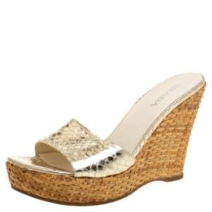 Prada Gold Snakeskin Embossed Leather Wedges Platform Slide Sandals Size 37
