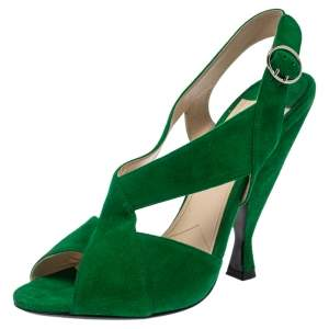 Prada Green Suede Crisscross Open Toe Sandals Size 39