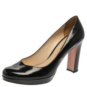 Prada Black Patent Leather Platform Pumps Size 39