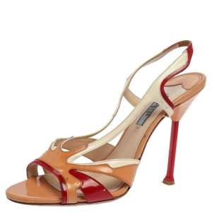 Prada Multicolor Patent Leather Open Toe Slingback Sandals Size 40