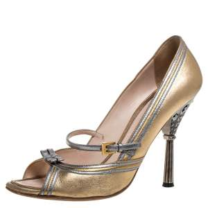 Prada Metallic Gold/Silver Leather Mary Jane Bow Open Toe Pumps Size 39