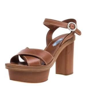 Prada Brown Leather Crisscross Ankle Strap Platform Sandals Size 39.5
