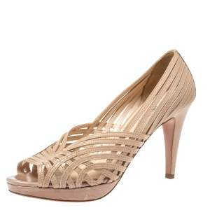 Prada Beige Leather Strappy Open Toe Platform Pumps Size 39.5