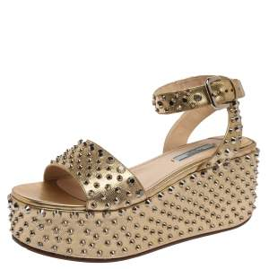 Prada Metallic Gold Saffiano Leather Studded Platform Sandals Size 38.5