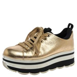 Prada Sport Metallic Gold Leather Lace Up Platform Sneakers Size 36