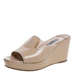 Prada Beige Saffiano Patent Leather Wedge Platform Sandal Size 37.5