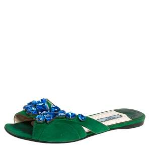 Prada Green Suede Leather Crystal Embellished Flat Slides Size 37.5