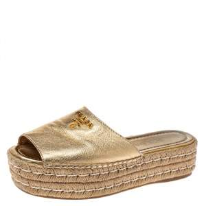 Prada Gold Metallic Leather Espadrille Platform Slides Size 37