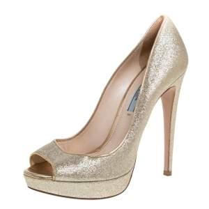 Prada Gold Glitter Peep Toe Platform Pumps Size 38