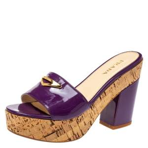 Prada Purple Patent Leather Embellished Open Toe Cork Platform Block Heel Sandals Size 38.5