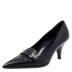 Prada Black Textured Leather Pointed Toe Pumps Size 38