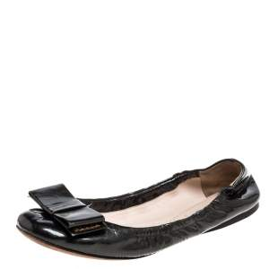 Prada Metallic Olive Green Patent Leather Bow Scrunch Ballet Flats Size 39.5