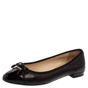 Prada Black Patent Leather Bow Cap Toe Ballet Flats Size 35