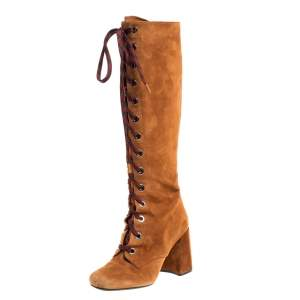 Prada Brown Suede Leather Lace Up Knee Block Heel Boots Size 37