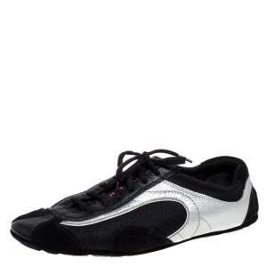 Prada Sport Silver/Black Leather And Mesh Low Top Sneakers Size 38