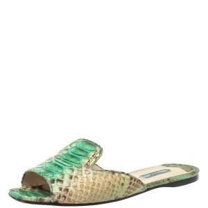 Prada Green/Beige Python Flat Slides Size 40