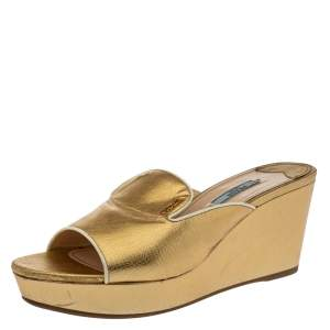 Prada Metallic Gold Saffiano Leather Wedge Platform Slide Sandals Size 41.5