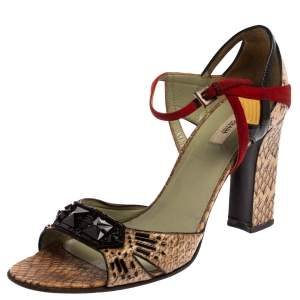 Prada Multicolor Python And Leather Embellished Ankle Strap Sandals Size 39.5