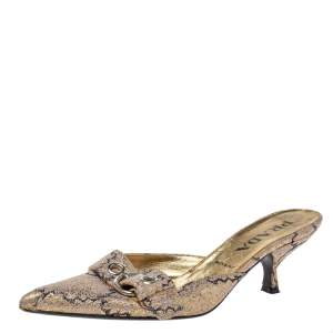 Prada Gold Fabric Buckle Pointed Mule Sandals Size 37
