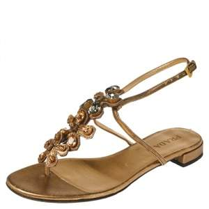 Prada Gold Leather Crystal Embellished Thong Sandals Size 38.5