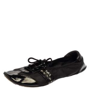 Prada Black Nylon and Leather Lace Up Flats Size 40