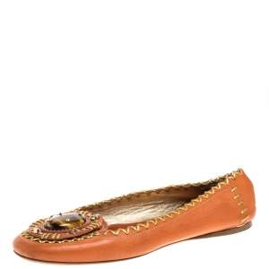 Prada Orange/Gold Leather Embellished Whipstitch Ballet Flats Size 36.5