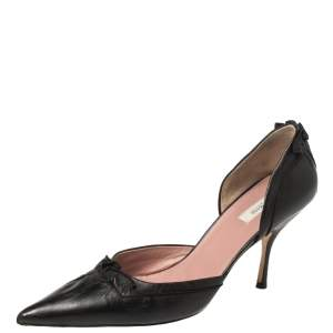 Prada Black Leather D'orsay Pointed Toe Pumps Size 37.5