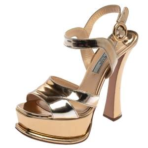 Prada Metallic Gold Leather Ankle Strap Platform Sandals Size 36.5