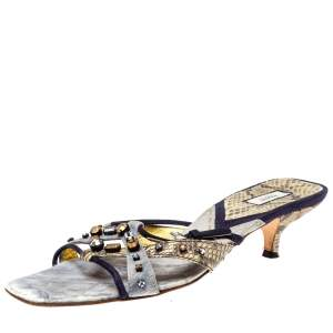 Prada Tri Color Suede and Snakeskin Embellished Slide Sandals Size 37.5