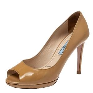 Prada Light Beige Patent Leather Peep Toe Platform Pumps Size 37