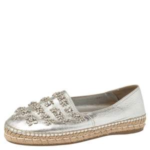 Prada Silver Leather Crystal Embellishment Slip On Espadrilles Size 39.5