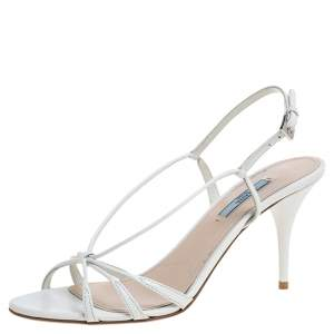 Prada White Leather Slingback Sandals Size 39