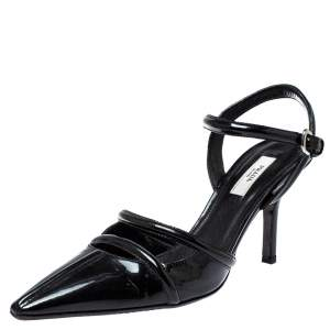 Prada Black Patent Leather Pointed Toe Ankle Strap Sandals Size 38
