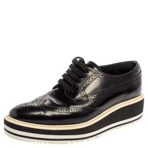 Prada Black Brogue Leather Wingtip Platform Oxford Sneakers Size 36