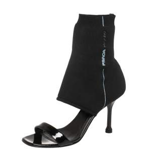 Prada Black Knit Fabric And Patent Leather Open-Toe Sock Sandals Size 36.5