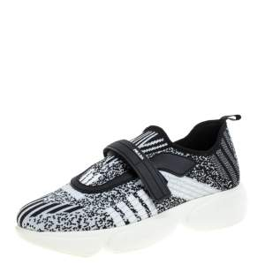 Prada Black/White Lurex  Cloudbust Sneakers Size 37