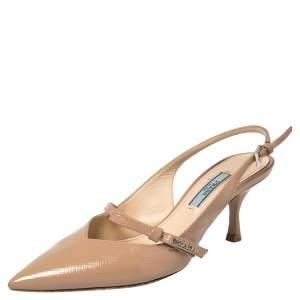Prada Beige Saffiiano Patent Leather Bow Slingback Pumps Size 36.5