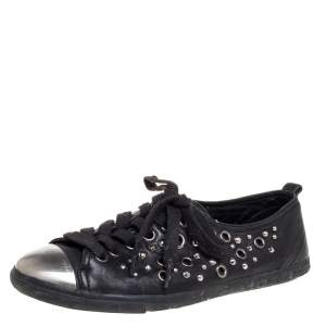 Prada Black Leather Grommet Sneakers Size 37