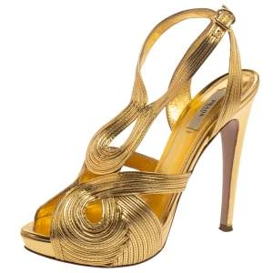 Prada Metallic Gold Leather Peep Toe Ankle Strap Platform Sandals Size 39