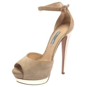 Prada Beige Suede Platform Block Heel Ankle Strap Sandals Size 38