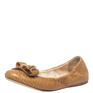 Prada Beige Python Leather Scrunch Bow Ballet Flats Size 36.5