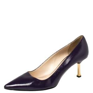 Prada Blue Saffiano Leather Pointed Toe Pumps Size 37.5