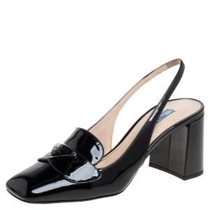 Prada Black Patent Leather Slingback Sandals Size 37