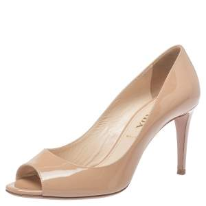 Prada Beige Patent Leather Peep Toe Pumps Size 38