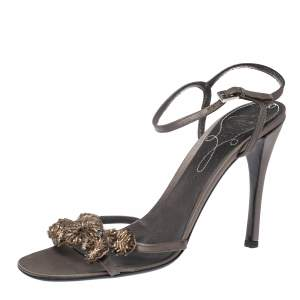 Prada Grey Satin Bow Embellished Ankle Strap Sandals Size 40.5
