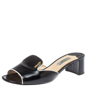 Prada Black Saffiano Patent Leather Slide Sandals Size 38